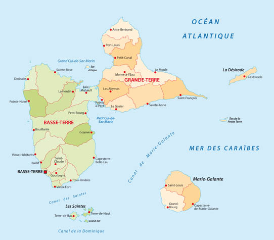 La carte de la Guadeloupe   Guadaloc
